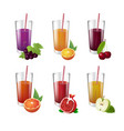 collection of realistic glasses with tasty juice vector image vector image