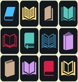 Colorful book icon set vector image vector image