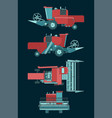 combine harvester colorful blueprints vector image
