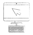 computer desktop with arrow mouse and keyboard vector image vector image