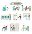 Coworking In Modern Open Space Office Infographic vector image vector image
