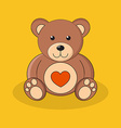 Cute brown teddy bear with red heart on yellow vector image