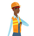 disappointed african builder with thumb down vector image vector image