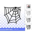 editable stroke spider web thin line icon vector image vector image