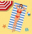 girl on beach with a bikini summer time vector image vector image