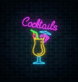 glow neon sign of cocktails bar on dark brick vector image vector image
