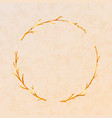golden detailed branches wreath on beige paper vector image vector image