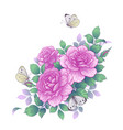 hand drawn pink rose flowers and butterflies vector image vector image