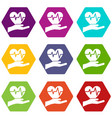 hand holding heart with ecg line icon set color vector image vector image