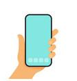 hands hold smartphones flat design vector image vector image