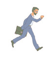 late business man hurrying up looking at vector image