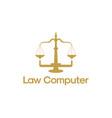law computer logo template online arbitrator logo vector image vector image
