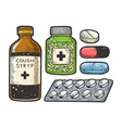 medicine drug set sketch engraving vector image