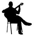music man sitting on chair with guitar silhouette vector image vector image
