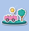 pink car transportation with sun and tree patches vector image vector image
