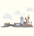 port and city view outline vector image vector image