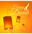 post card for diwali festival with realistic sky vector image vector image
