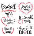 set lettering baseball momcollection vector image
