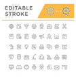 set line icons office vector image vector image
