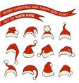 Set of Santa hats vector image