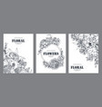 set three banners with beautiful flowers vector image