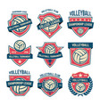 set volleyball club emblems volleyball vector image vector image