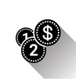 silhouette black dollar coins stack icon with long vector image