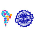 social network map of south america with chat vector image