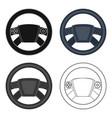 steering wheel single icon in cartoonoutline vector image vector image