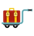 Suitcase on a cart icon flat style vector image