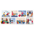 tourists on vacation cartoon scenes with families vector image vector image