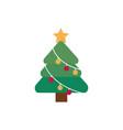 tree star balls decoration happy christmas icon vector image