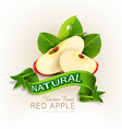 two slices of red apple with green leaves vector image vector image