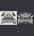 vintage firefighting emblems vector image vector image