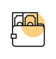wallet money cash shopping line style dot color vector image