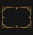 winter art deco frame golden color christmas vector image