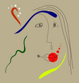 woman portrait in joan miro style vector image vector image