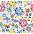 bright seamless floral pattern painted markers vector image