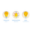 paper cut out logo template set with light bulbs vector image