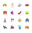 paris set icons set cartoon vector image