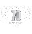 anniversary 70 silver 3d numbers vector image vector image