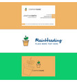 beautiful plant pot logo and business card vector image