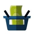 blue basket shop bill money color shadow vector image