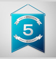 blue pennant with inscription five years vector image vector image