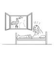 cartoon tired man in bed woken rooster vector image