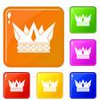 cog crown icons set color vector image vector image