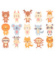cute cartoon animals waving giraffe funny farm vector image
