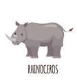 cute rhinoceros in flat style vector image