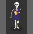 day dead skeleton in dress holding book vector image