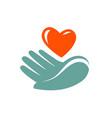 donation charity logo or label hand holding vector image vector image